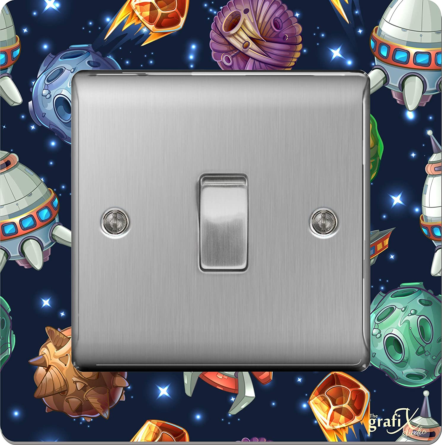 the sticker studio ltd Single Light Switch/Socket Surround Acrylic Finger Plate Space Planets Rockets sr10
