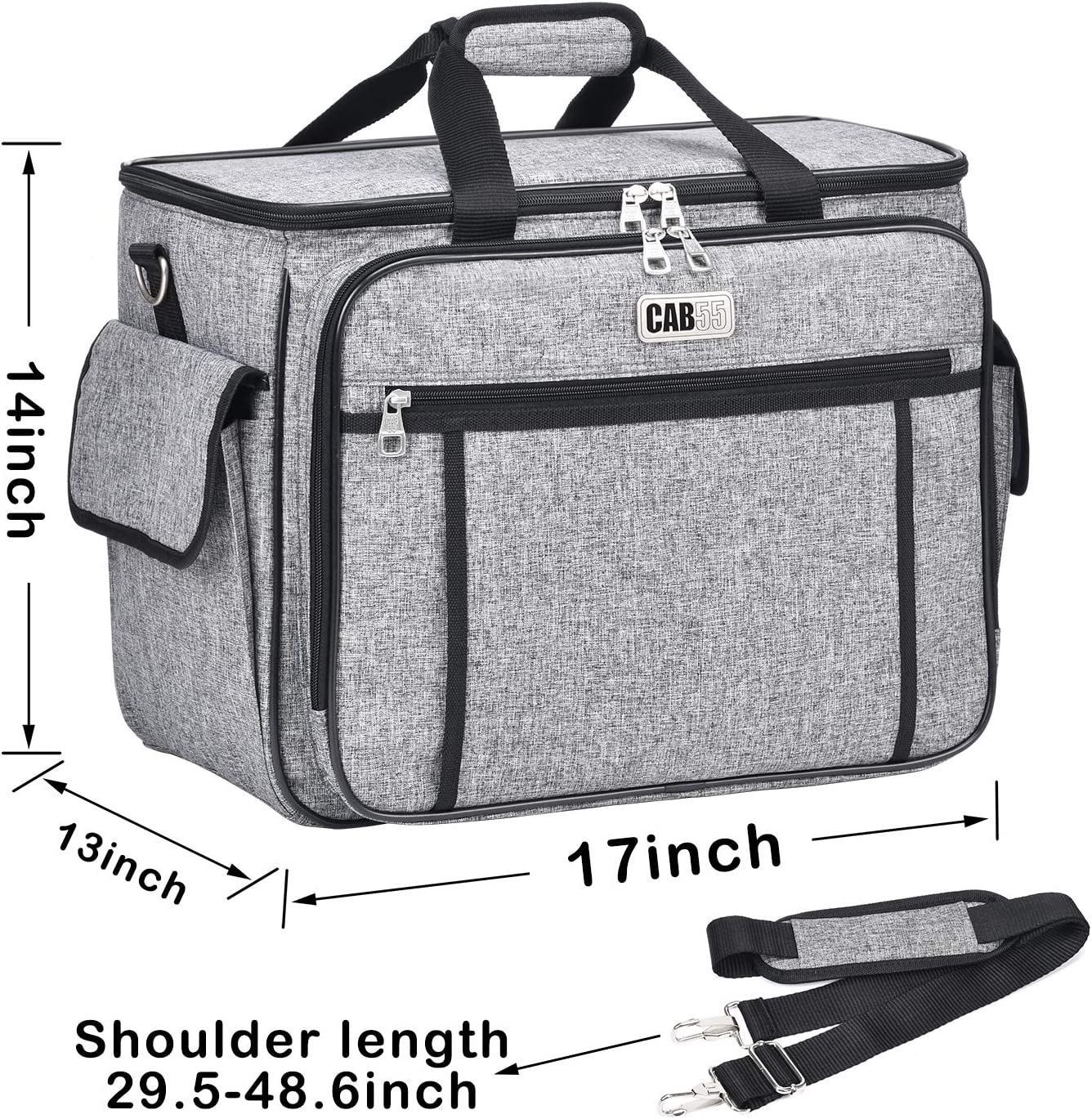 Grey Sewing Machine Cover cab55 Sewing Machine Carrying Bag with Removable Padding Pad Tote Bag for Sewing Machine and Extra Sewing Accessories