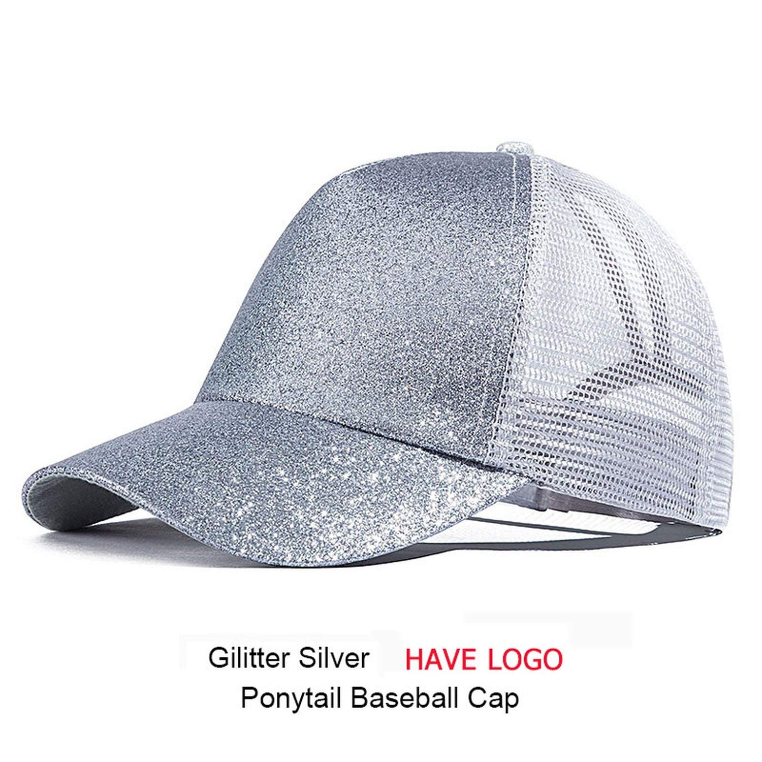 c0b4bf9e7a0 HANBINGPO 2019 Ponytail Baseball Cap Women Messy Bun Snapback Summer Mesh  Hats Casual Sport Sequin Caps Hat Cap, D at Amazon Women's Clothing store: