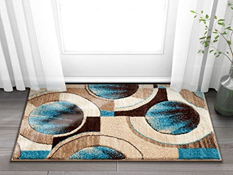 Well Woven Sunburst Blue Beige Brown Modern Geometric Comfy Casual Hand Carved 2x3 2 X 3 Area Rug Easy To Clean Stain Fade Resistant Abstract Contemporary Thick Soft Plush Home