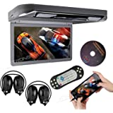"""XTRONS® Grey 13.3"""" HD 1080P Video Car MPV Roof Flip Down Slim Overhead DVD Player Wide Screen Ultra-thin with HDMI Input 2PCS IR Headphones Included"""