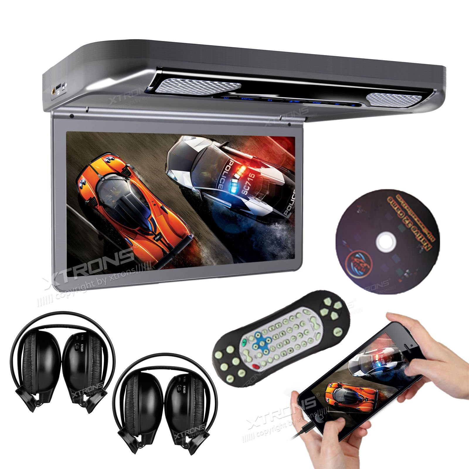 XTRONS® Grey 13.3'' HD 1080P Video Car MPV Roof Flip Down Slim Overhead DVD Player Wide Screen Ultra-thin with HDMI Input 2PCS IR Headphones Included by XTRONS