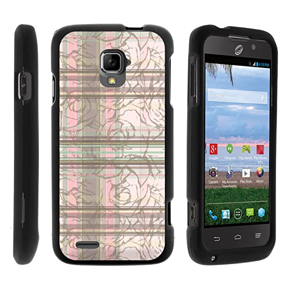 the latest b8fde c40f0 MINITURTLE Case Compatible w/ZTE Rapido LTE Case, Cell Phone Case Hard  Cover w/Cute Design Patterns for ZTE Rapido LTE Z932L - Plaid Flowers  Pattern