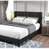 Allewie Full Size Platform Bed Frame with Wingback/Fabric Upholstered Square Stitched Headboard and Wooden Slats/Mattress Fou