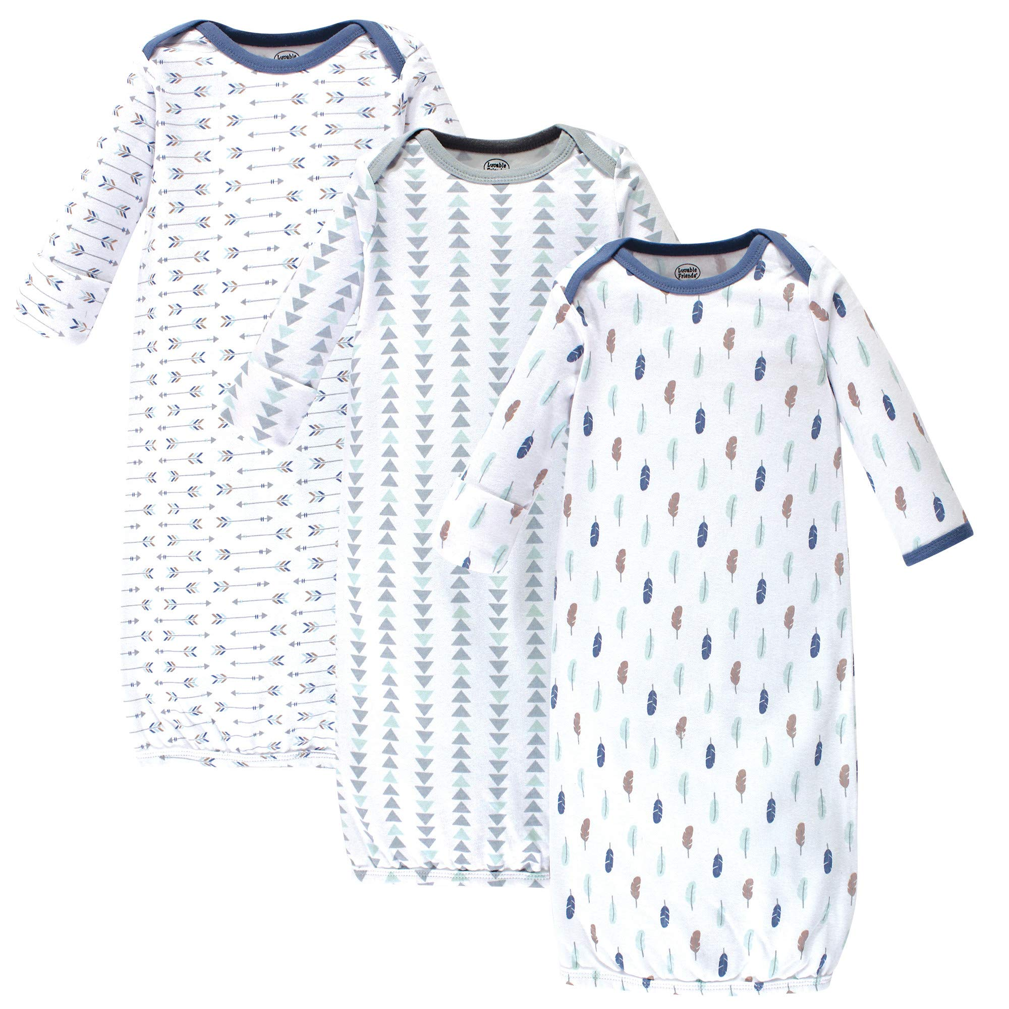 Luvable Friends Unisex Baby Cotton Gowns, Boy Feathers 3-Pack, One Size by Luvable Friends (Image #1)