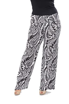 ed20778cb6294c WM Women's Plus Size Printed Palazzo Pants (Black/White Paisley, ...