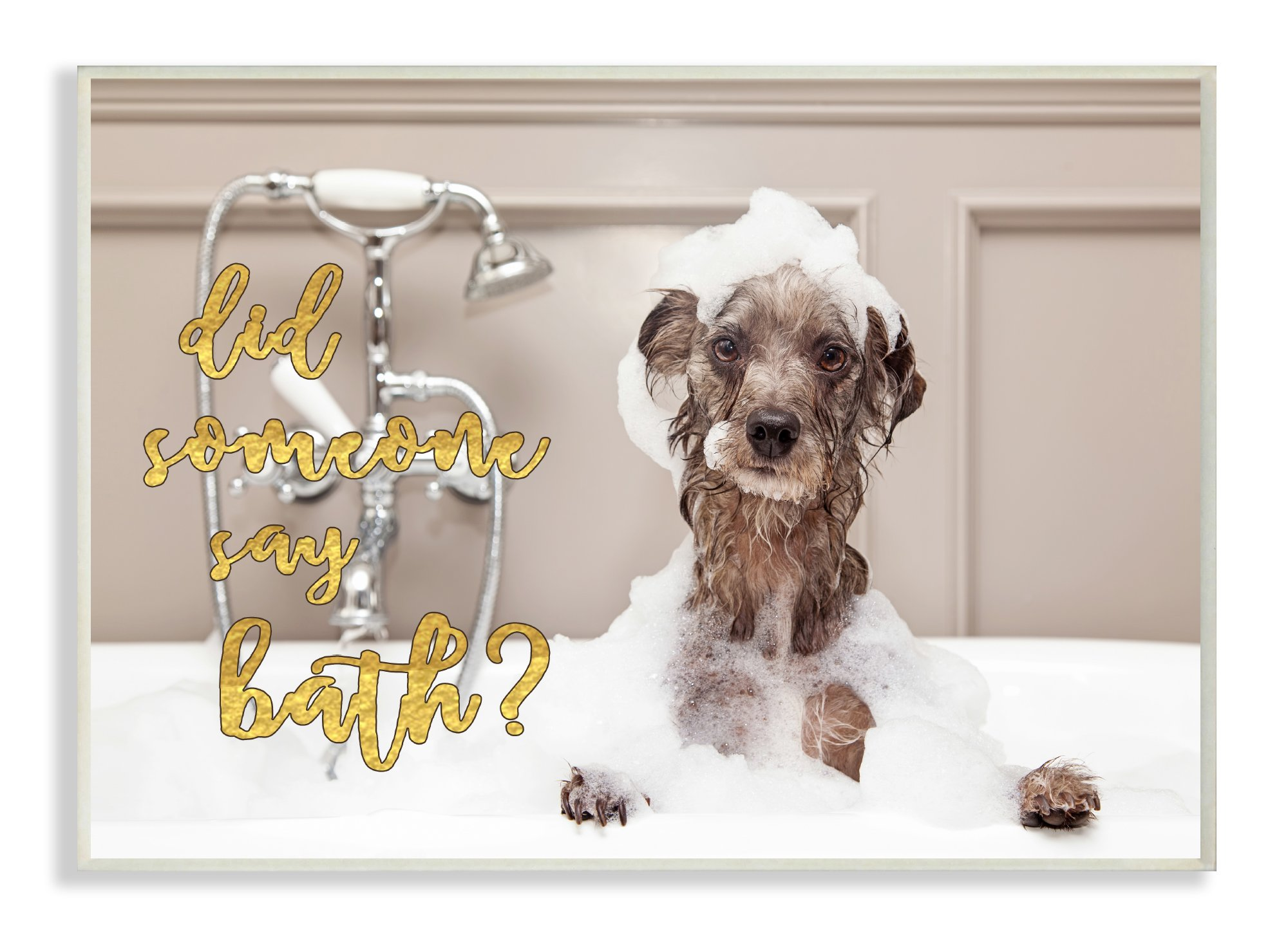 Stupell Home Décor Did Someone Say Bath? Bubble Bath Dog Wall Plaque Art, 10 x 0.5 x 15, Proudly Made in USA