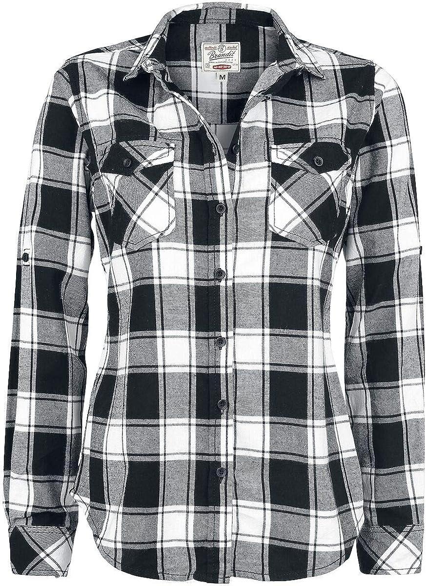 Brandit Camisa a Cuadros de Franela Amy Camisa Mujer negro-blanco XL