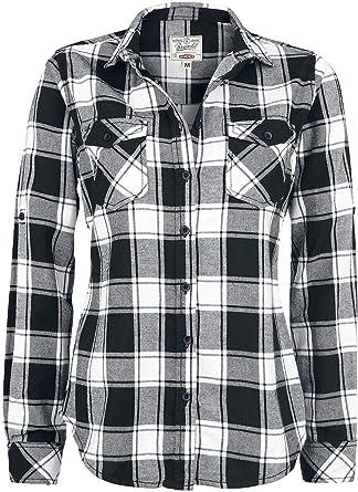 Brandit Camisa a Cuadros de Franela Amy Camisa de Franela Negro/Rojo: Amazon.es: Ropa y accesorios