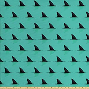 Lunarable Marine Fabric by The Yard, Shark Fins in The Sea Danger in Ocean Scary Creature Swimming Illustration, Decorative Fabric for Upholstery and Home Accents, 2 Yards, Seafoam Black