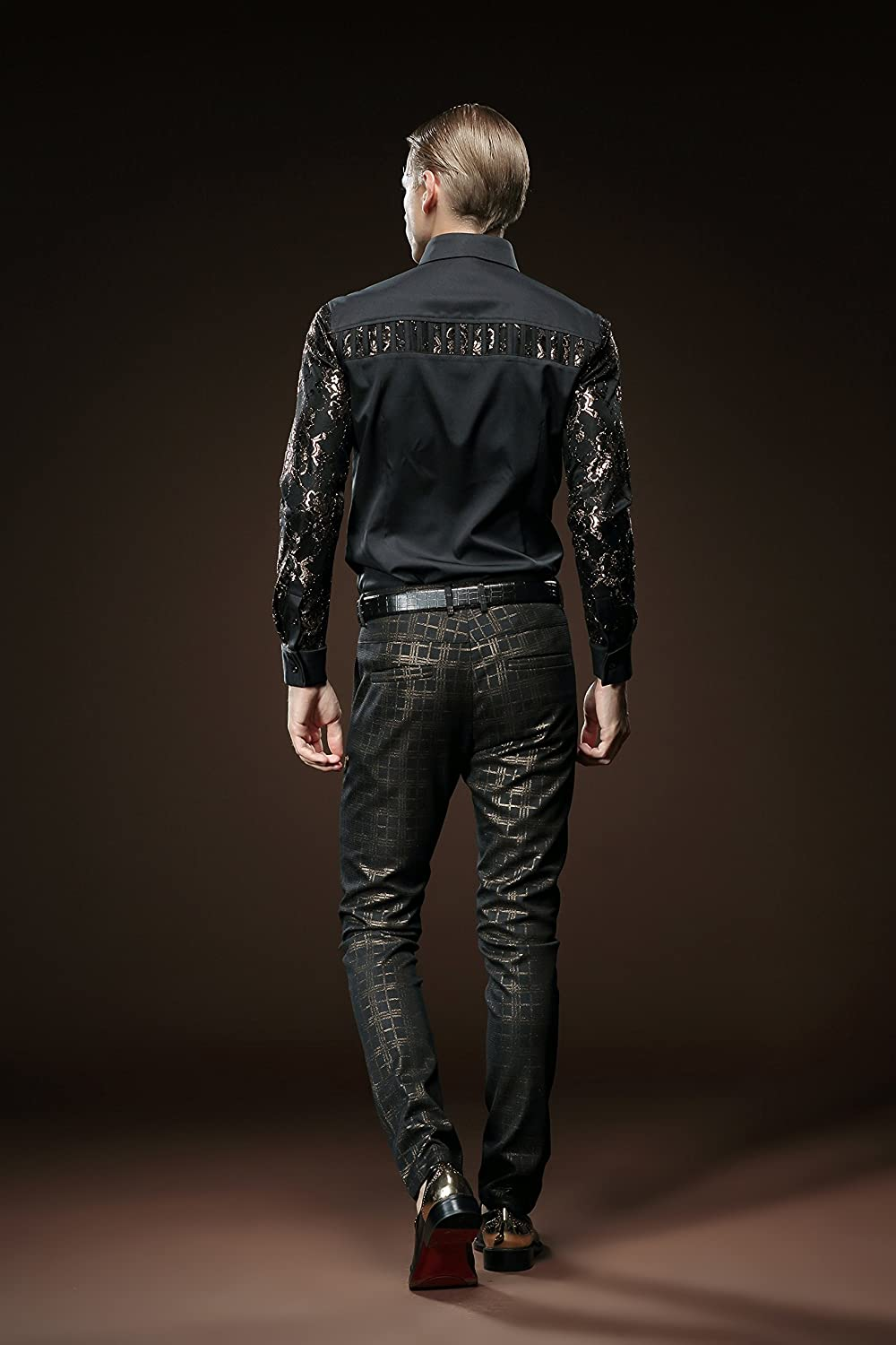 35c4e032 FANZHUAN Lush Stylish Black Shirt Long Sleeve Slim Fit Non Iron Golden Lace  at Amazon Men's Clothing store: