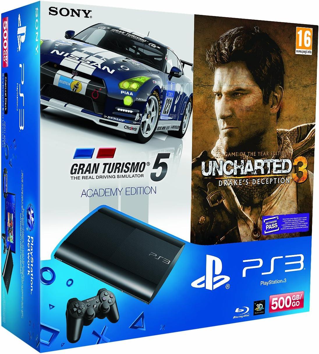 PlayStation 3 - Consola 500 GB + GT5 Academy + Uncharted 3 - Edición Game Of The Year: Amazon.es: Videojuegos