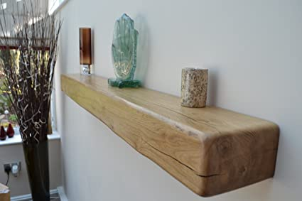 new concept 0438c 95820 6in X 4in Solid Oak Mantle Beam Floating Shelf-Rugger Brown ...