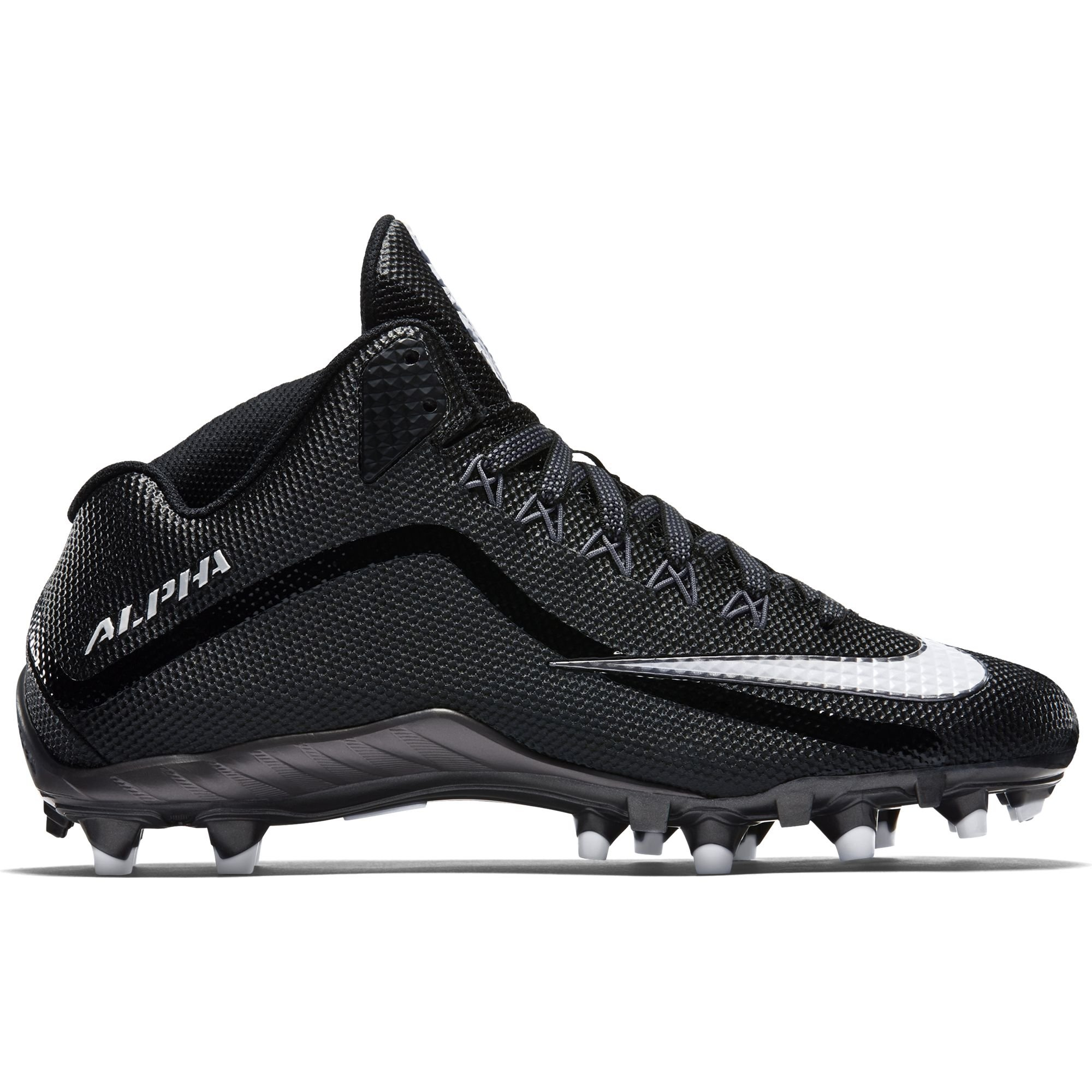 Nike Mens Alpha Pro 2 3/4 TD Football Cleats 719927-010 (Black/Metallic Dark Grey/White, 10.5 D(M) US)