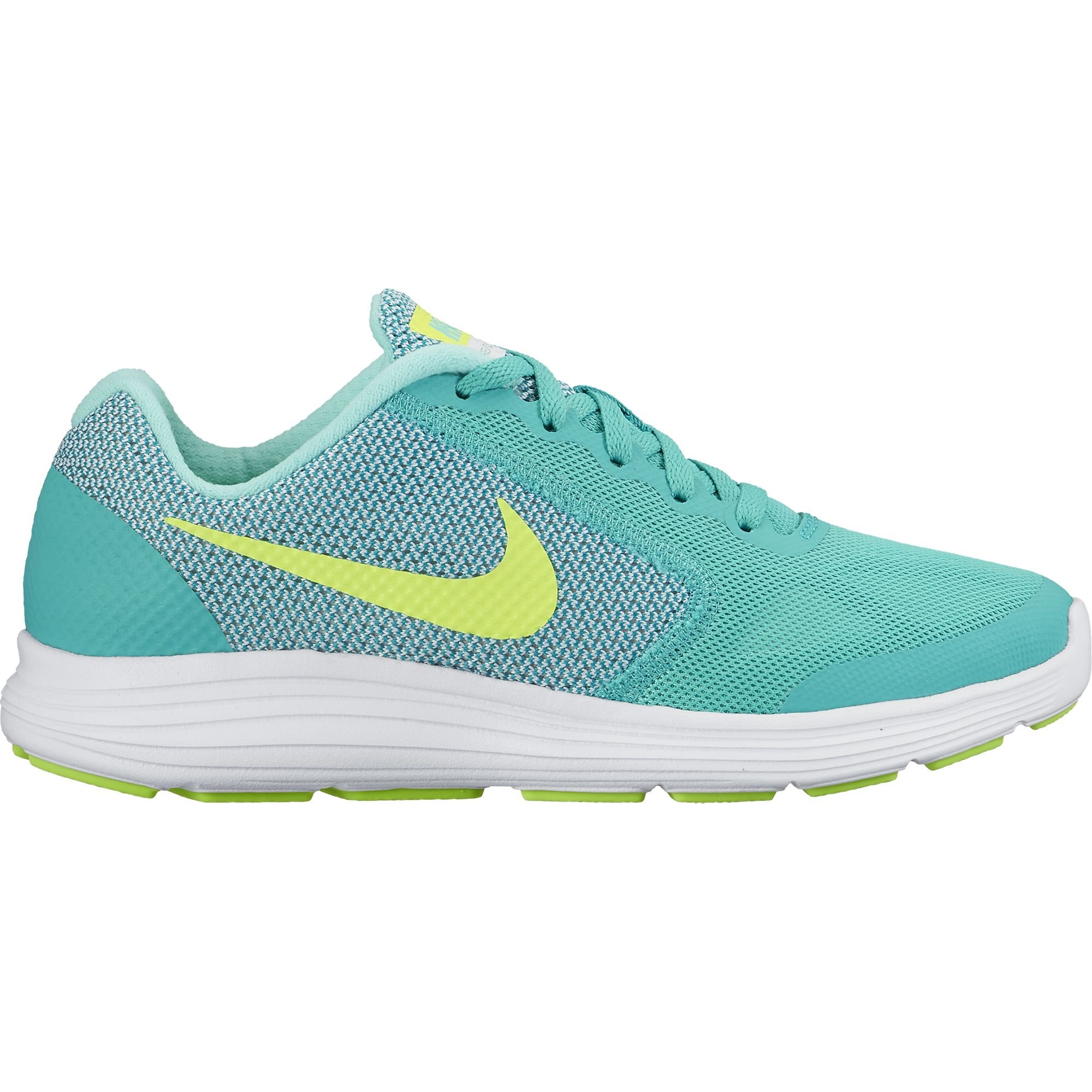 NIKE Girls' Revolution 3 (GS) Running-Shoes, Clear Jade/Volt/Hyper Turquoise/White, 6.5 M US Big Kid