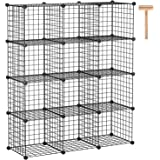 C&AHOME Wire Cube Storage, 12-Cube Storage Organizer, Metal Stackable Storage Bins, Modular Bookshelf, DIY Closet…