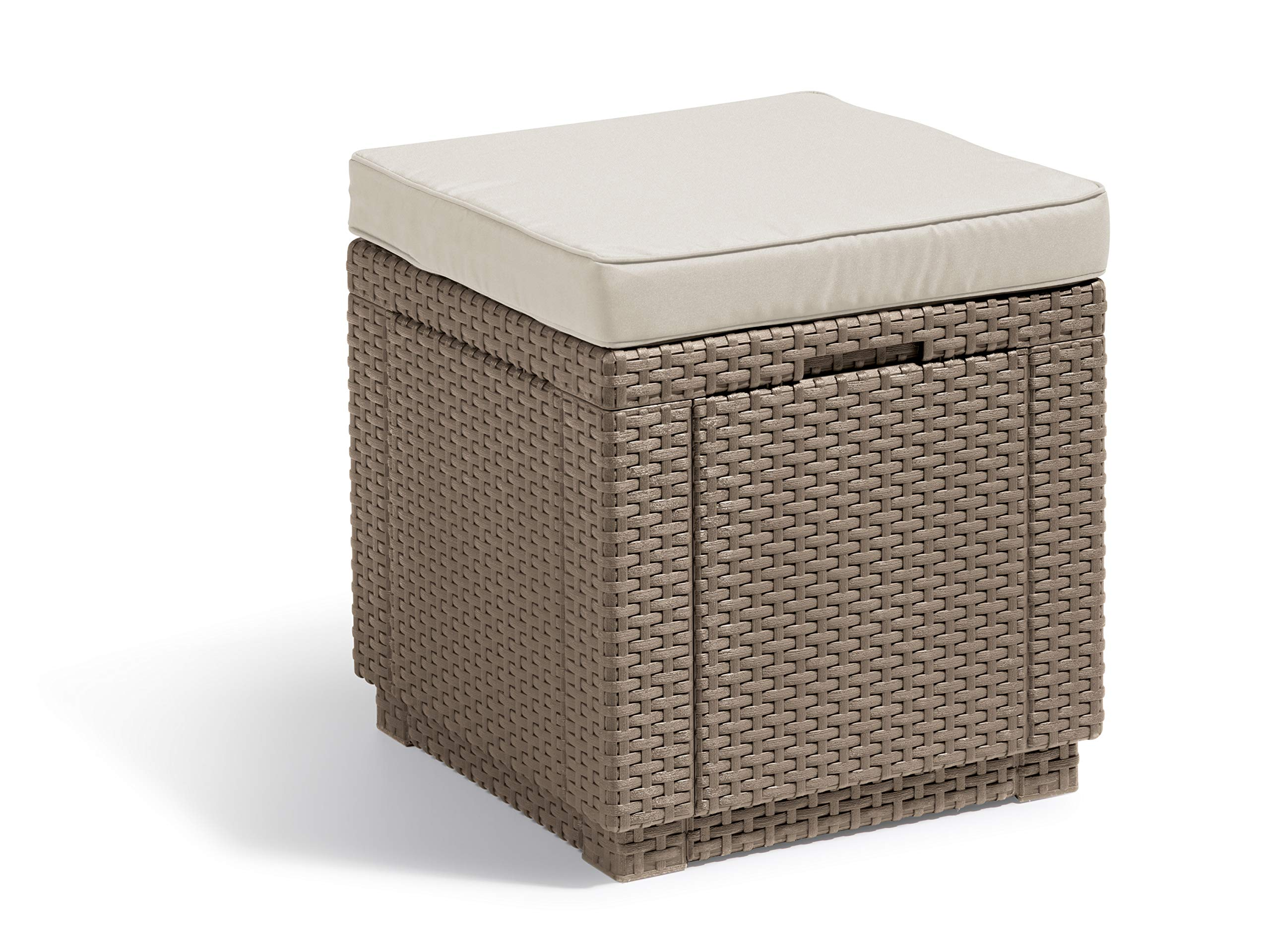 Allibert by Keter Outdoor Garden Storage Seat Stool with Cushion -  Cappuccino with Sand Cushion