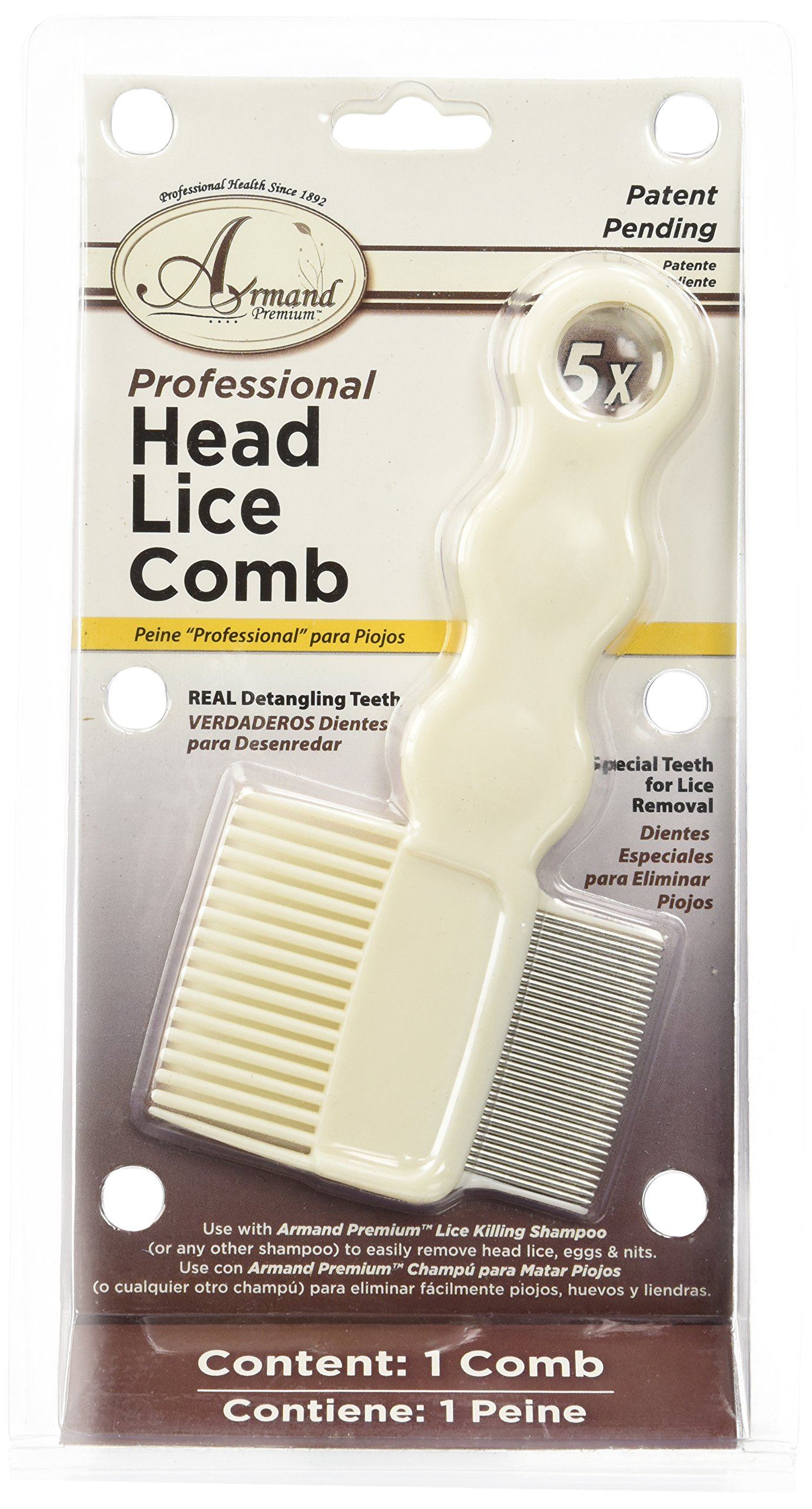 #1 Lice Comb with 5x magnifying glass -- featuring professional head lice comb patent pending -- ideal for detangling knots from thick or thin hair
