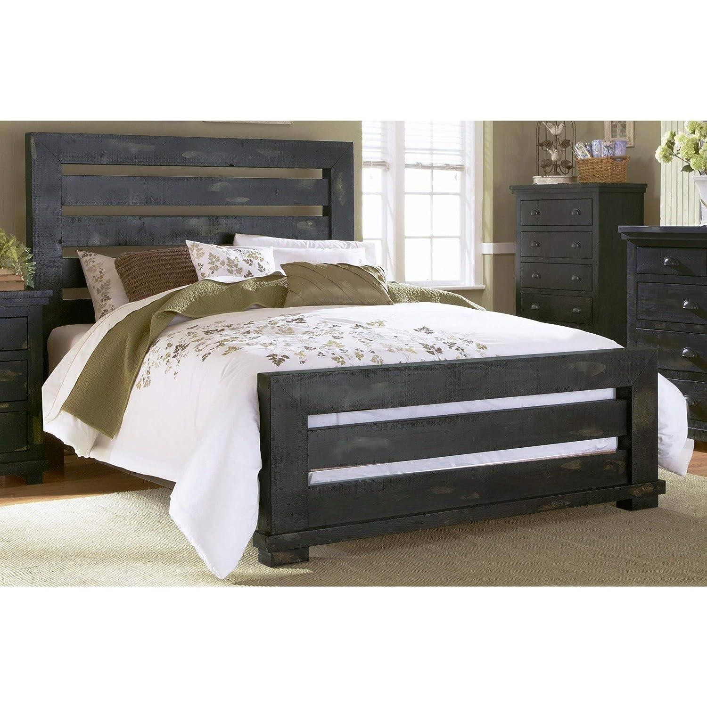 Progressive Furniture P612-60/61/78 Willow Bedroom Queen Distressed Black