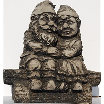 Whimsical Gnomeo and Juliet Gnome Statue Handmade in USA made of cast stone concrete great for indoor our outdoor 5 finishes painted stained or unpainted (Weathered) : Garden & Outdoor
