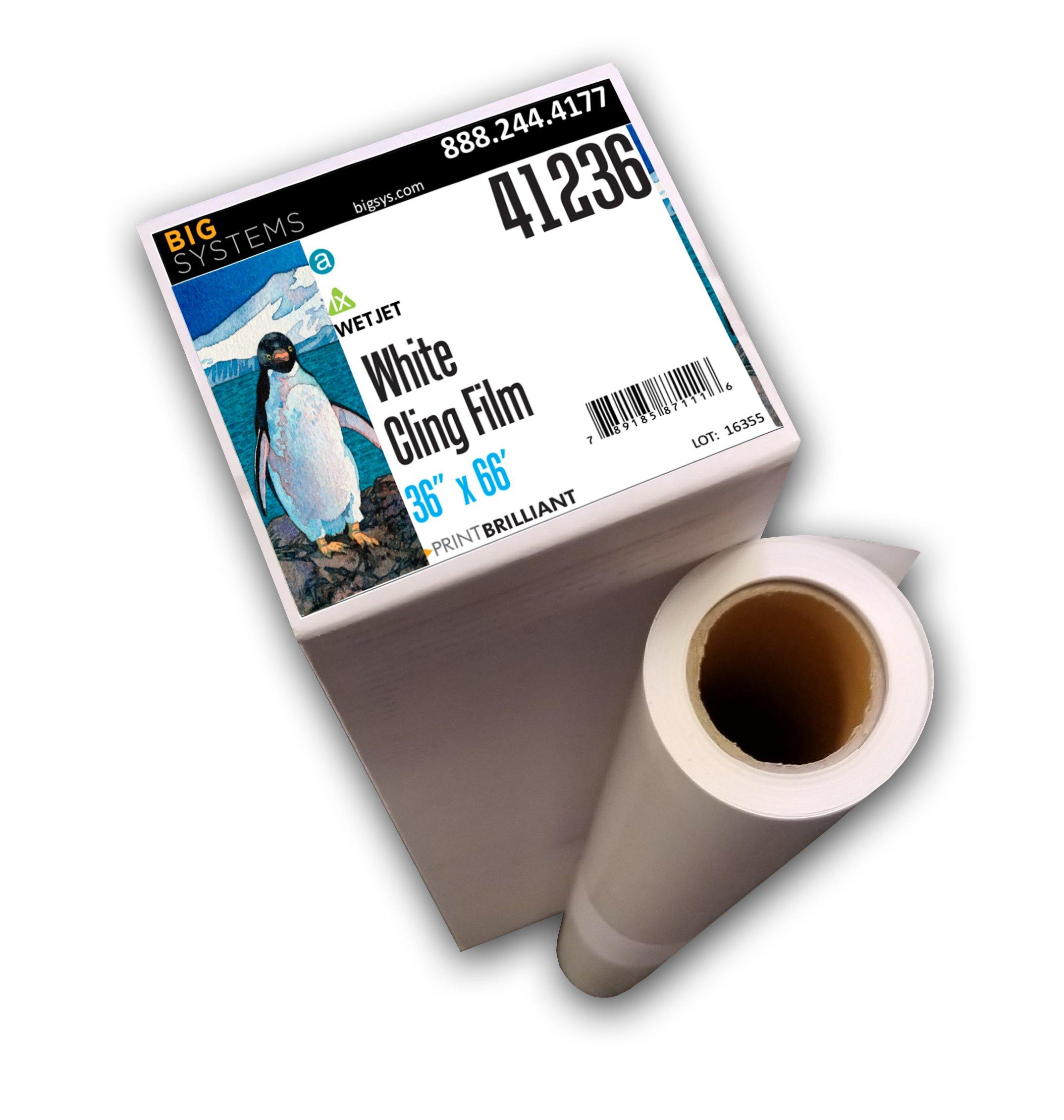 WetJet Aqueous White Cling Film, Banner Paper, Poster Paper Roll (36'' x 66')