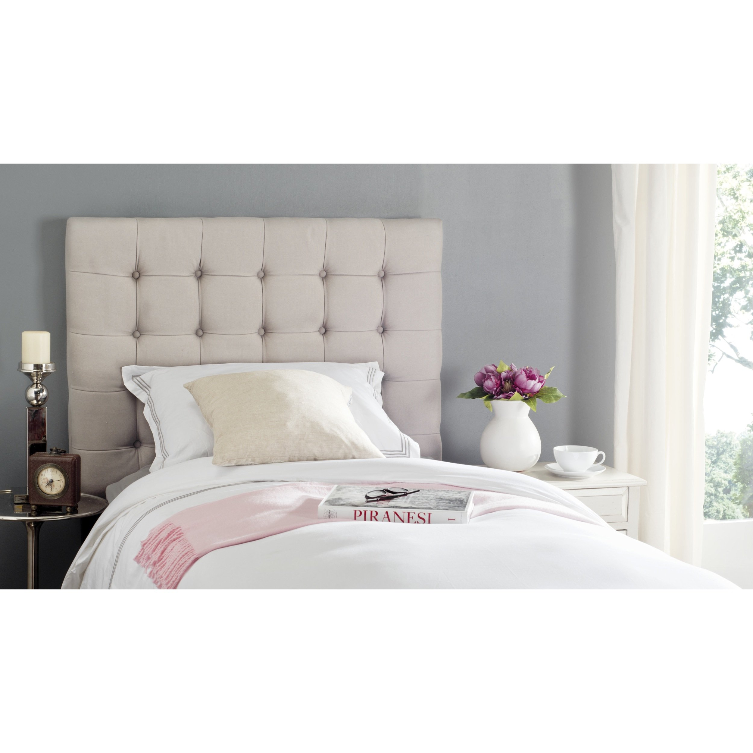 Safavieh Lamar Taupe Linen Upholstered Tufted Headboard (Twin) by Safavieh