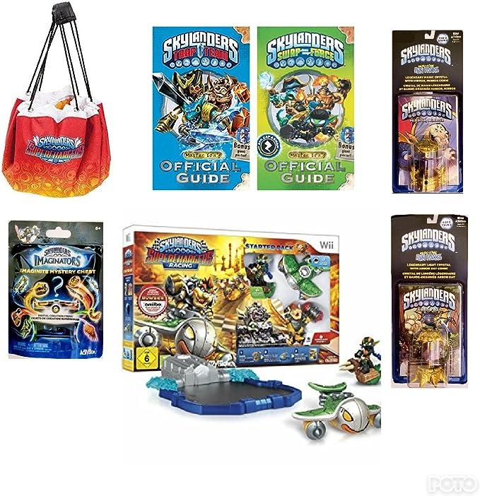 Mejores gangas. Skylander (7pc) Bundle Deal: Super Charmers RACING STARTER PACK, 2 paquetes de diversión, MYSTERY CHEST, Alfombrilla de almacenamiento para pizarra, 2 bolsillos de guía con pósteres (nintendo wii): Amazon.es: Hogar