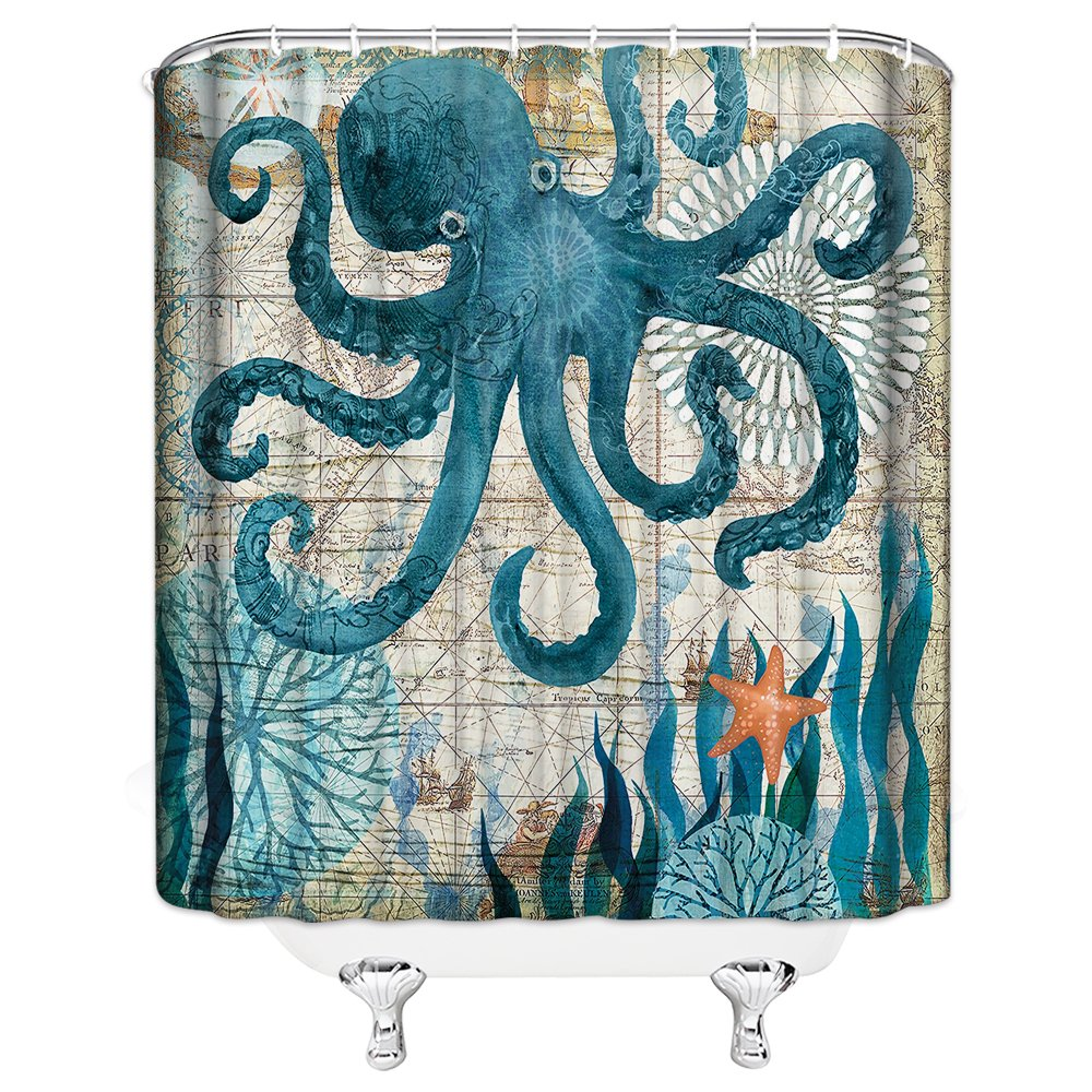 Shower Curtain Ocean Animal Blue Octopus Personality Vintage Nautical Map Shower Curtains 70x70 Inch Home Waterproof Mildew Antibacterial Hanging Curtains