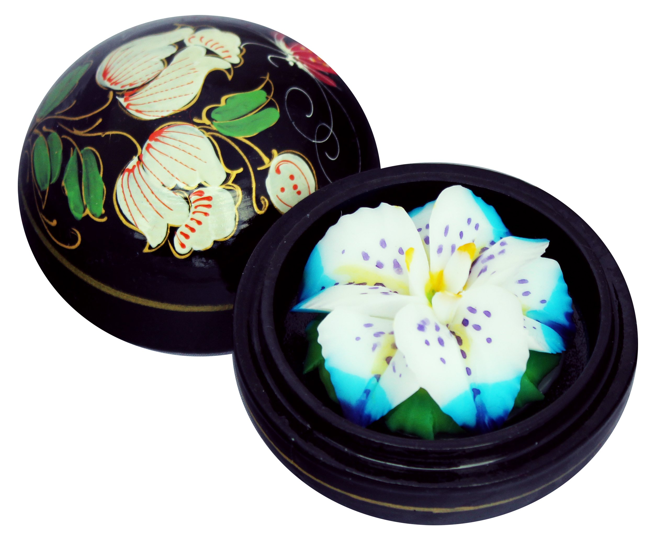 PureCachet Beautiful Thai Hand-Carved Lotus FlowerScented Soap in a Luxurious Hand-Painted Mango Wood Container (White With Blue/Pruple) by PureCachet