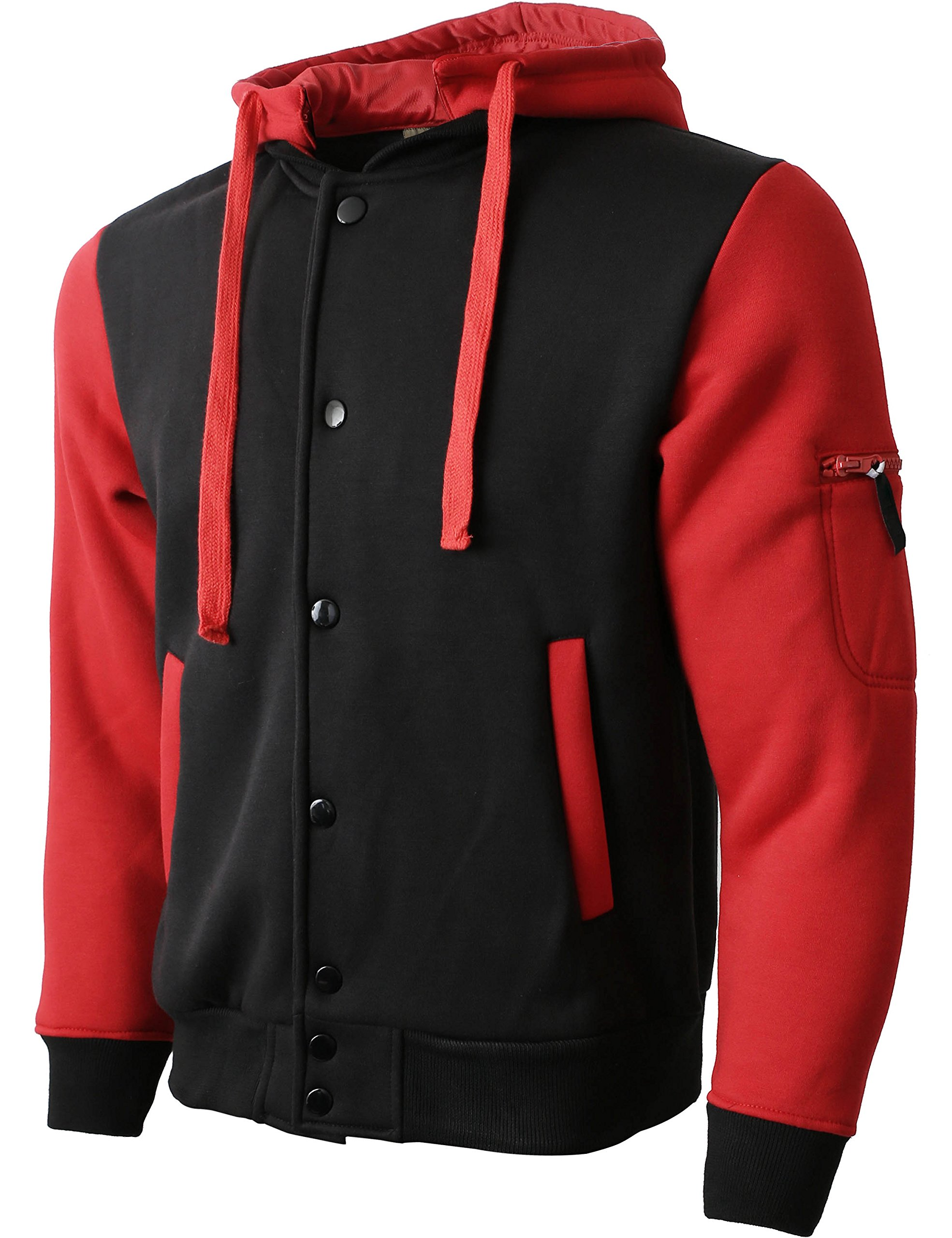 Hat and Beyond FM Mens Letterman Fleece Varsity Jackets Detachable Hood (Small/fm01_Blk.Red)