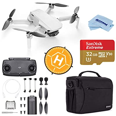 DJI Mavic Mini Drone FlyCam Quadcopter with 2.7K Camera 3-Axis Gimbal GPS, 30-Minutes Flight Time, Basic Bundle with Case, 32GB microSD Card, Landing Pad, Cloth: Electronics