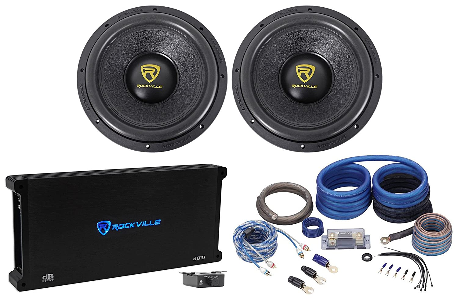 2 Rockville W12k9d2 12 8000 Watt Car Subwoofers Mono Single Dual Voice Coil Woofer With Ohm Coils Wired In Amplifier Copper Amp Kit Electronics
