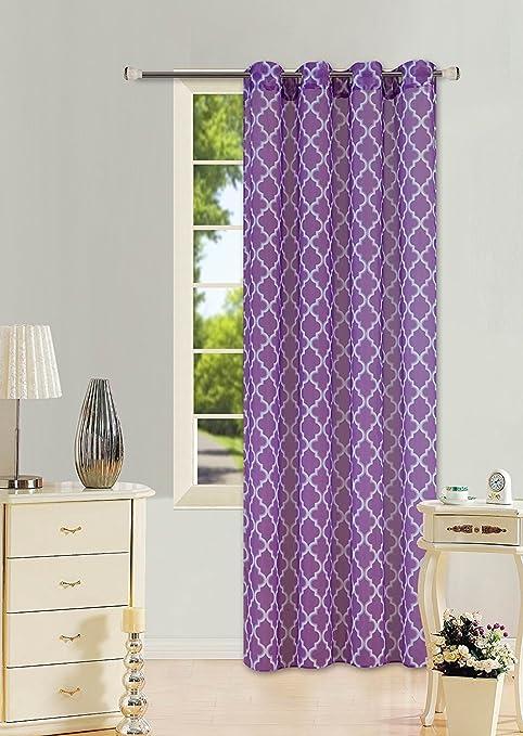 CHEVRON STRIPE PURPLE  GROMMET VOILE SHEER WINDOW CURTAIN 1PC 2 TONE PANEL Curtains & Blinds Curtains & Pelmets