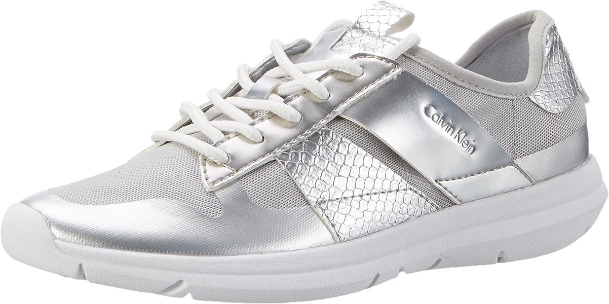 Calvin Klein Jeans IDEN Fine Mesh/Printed Snake, Zapatillas para Mujer, Plateado (