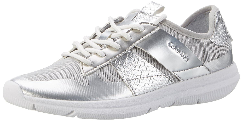 Calvin Klein Jeans IDEN Fine Mesh/Printed Snake, Zapatillas para Mujer 36 EU|Plateado (Silver)