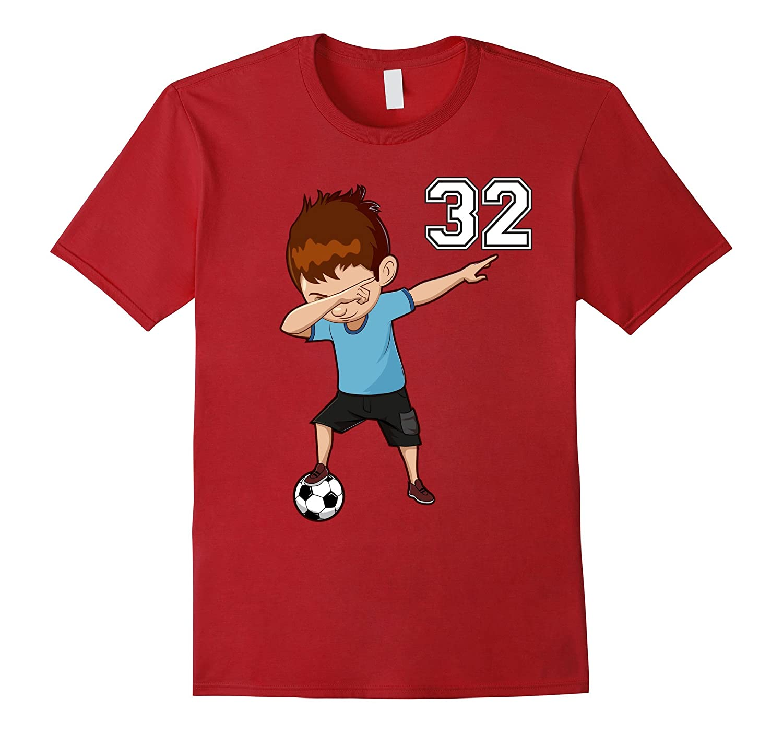#32 Soccer Shirt Boys Funny Dabbing Dab Dance Soccer Ball-T-Shirt
