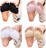 LOHOME® Toe Socks, Cotton Non-Slip Women's Toe Toppers Socks Toe Separating Socks No-Show Half Socks Barre Pilates Yoga Half Palm Socks Ballet Grip Sock for Summer (4, Black+White+Pink+Skin Color)