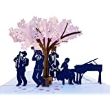 iGifts And Cards Smooth Jazz Band 3D Pop Up Greeting Card - Music Lovers, Awesome, Under a Cherry Blossom, Notes…