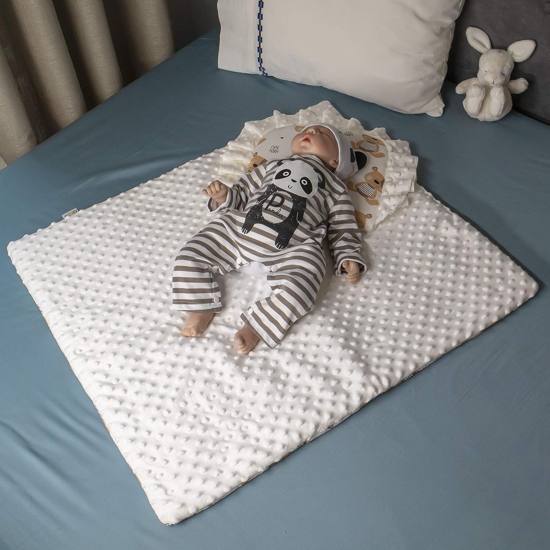 doppelseitige Steppdecke mit Kissen f/ür Neugeborene Grau 75 x 65 cm F/ür Kinder von 0 bis 12 Monaten BlueberryShop Minky Kinderwagenbezug-Set Perfekt als Geschenk f/ür Baby Shower