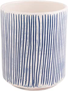 Home Essentials Blue Carved Thin Stripes Utensil Crock 7 Inches Height