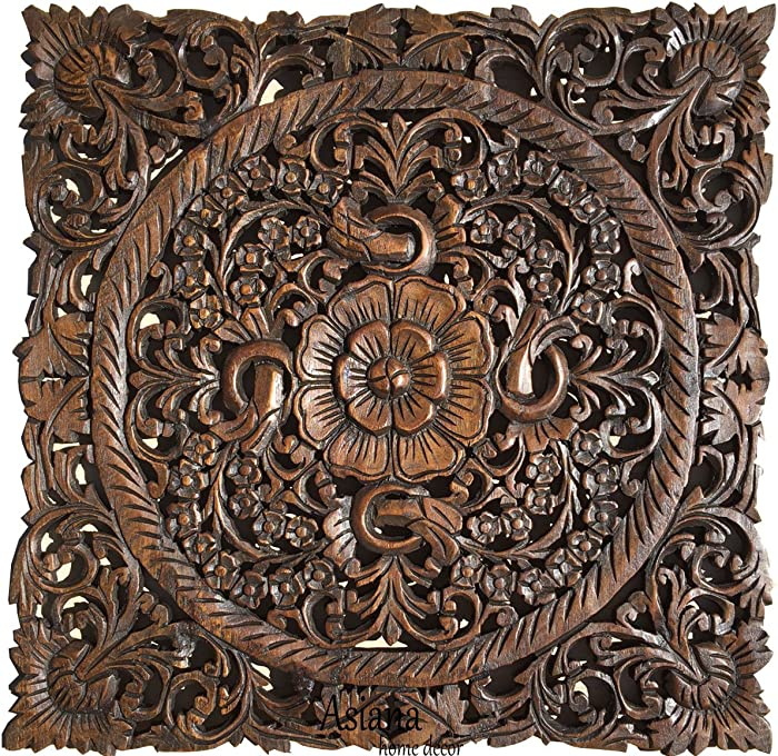 "Asiana Home Decor Carved Wood Wall Art- Oriental Carved Lotus Wood Plaque 24""x24""x0.5"" (Dark Brown)"