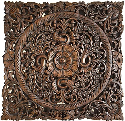 carved wood wall art Amazon.com: Carved Wood Wall Art  Oriental Carved Lotus Wood  carved wood wall art