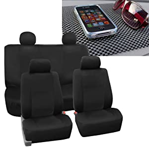 FH GROUP FH-FB085114 EVA Foam Premium Waterproof Car Pair Bucket Solid Black Seat Covers w. FREE GIFT FH1002 Non-Slip Dash Pad - Fit Most Car, Truck, Suv, or Van