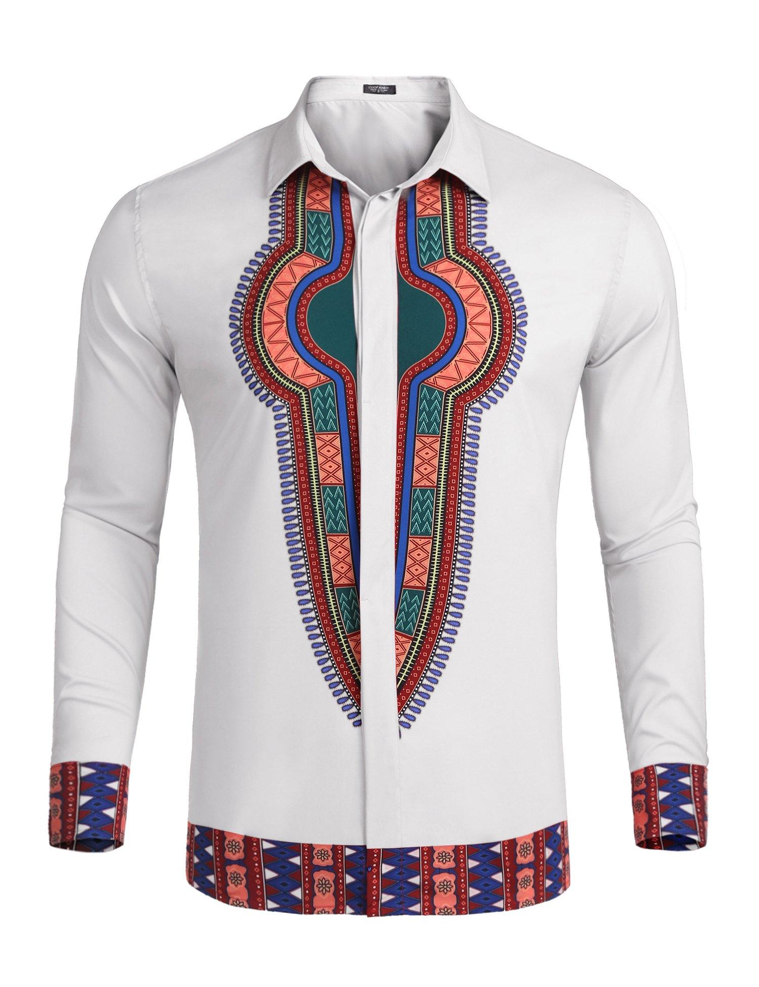 COOFANDY Mens Long Sleeves African Dashiki Button Down Shirt, White, Medium