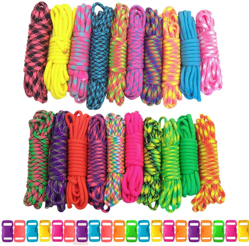 5 Colors 50 Feet Total PARACORD PLANET 550lb Paracord Combo Crafting Kits