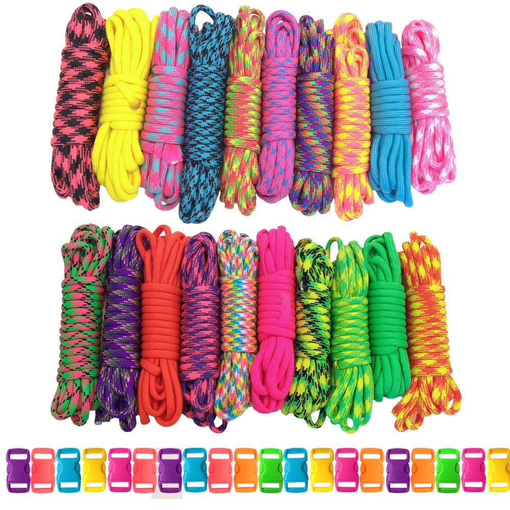 PARACORD PLANET 550 lb Type III Crafting Kits with Buckles, 200', Big Neon by PARACORD PLANET