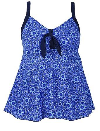 7141827878711 Hilor Women's Flowy Tankini Set Tie Front Two Piece Swimsuits with Swim  Briefs Royal Blue 10