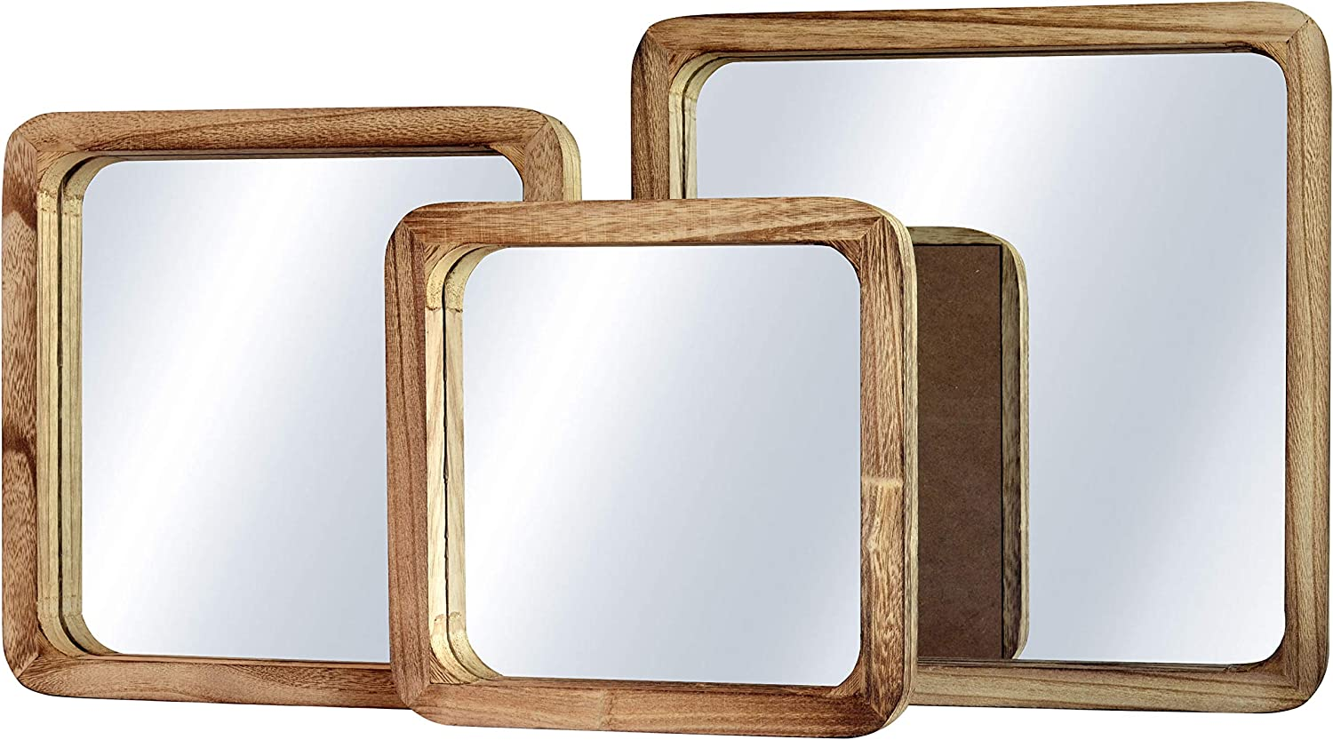 WHW Whole House Worlds Rustic Boho Chic Square Mirror Trio, Set of 3, 9.75, 11.75, and 13.75 Inches Square, Solid Sustainable Wood Frame, Glass, Saw Tooth Hangers on Backs