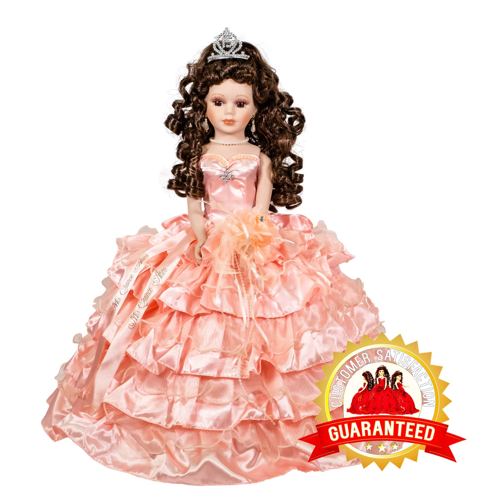 Kinnex Collections by Amanda 18'' Porcelain Quinceanera Umbrella Doll (Table Centerpiece) ~ Blush~ KK18729-29