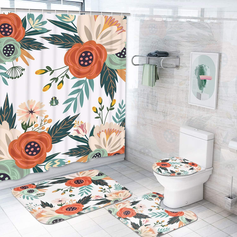 Floral Shower Curtain Bathroom Rug Set Bath Mat Non-Slip Toilet Lid Cover